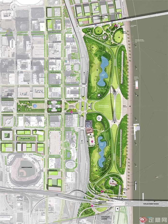 城市景观方案及实景图,效果图-公园设计滨水公园公园