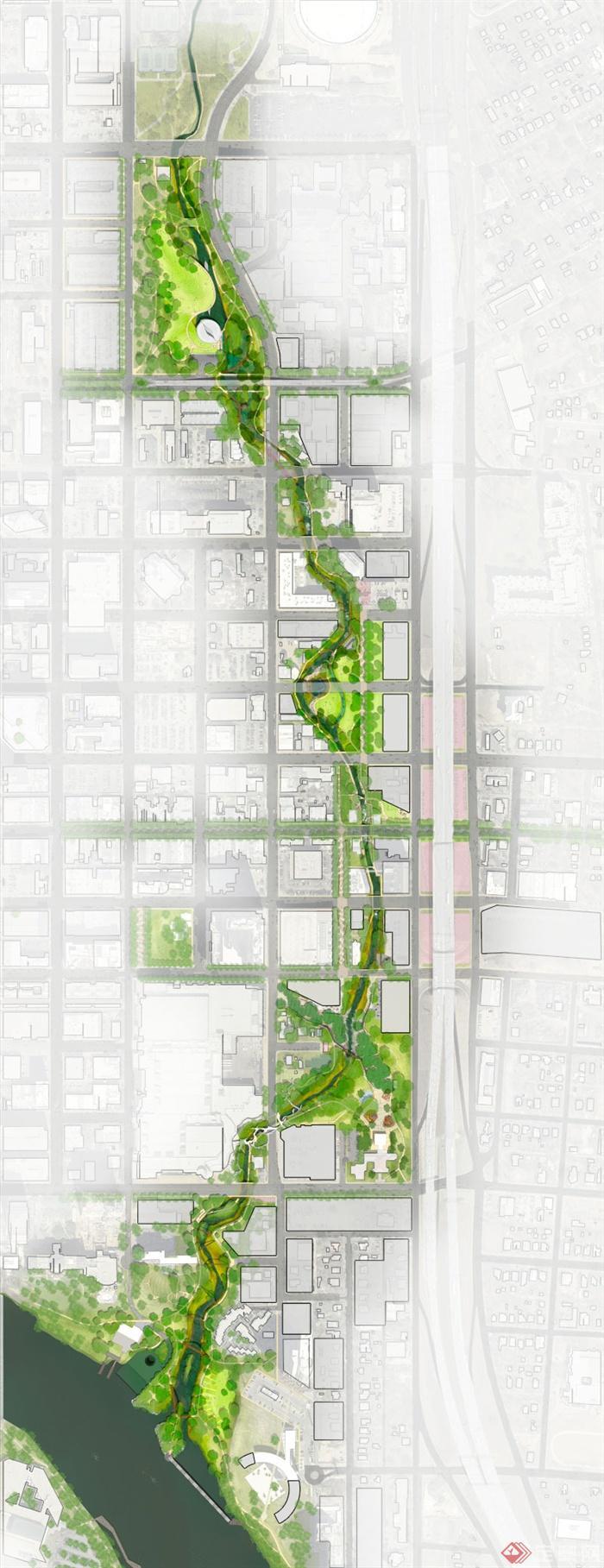 河道绿化手绘平面图