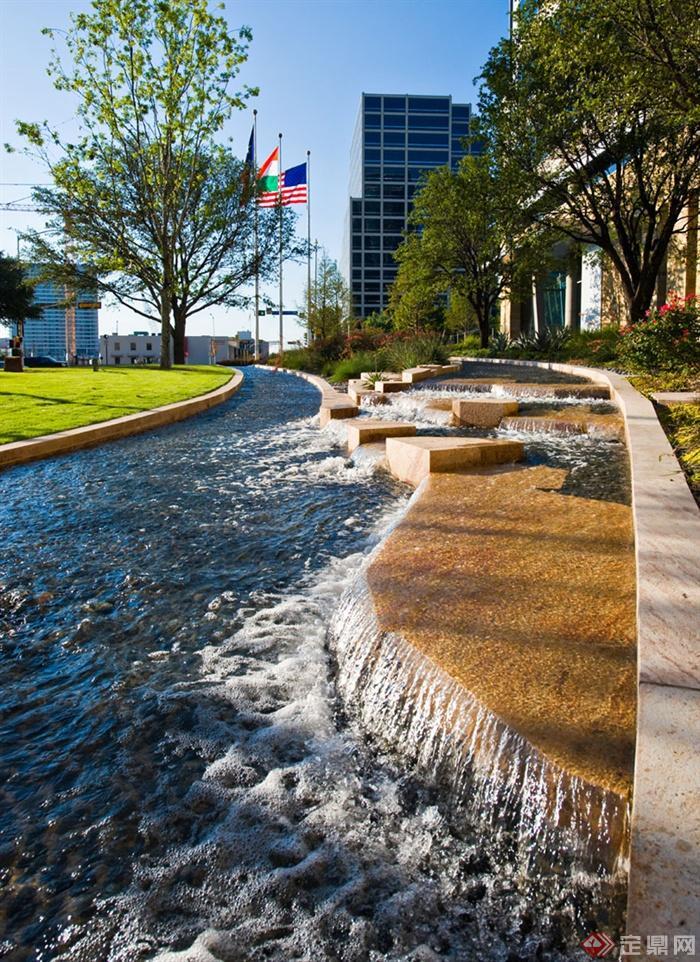 城市景觀方案及實景圖,效果圖-疊水景觀景觀水池-設計