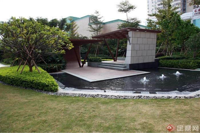 现代景观设计实景图及效果图-喷泉水景廊架景观水池图片