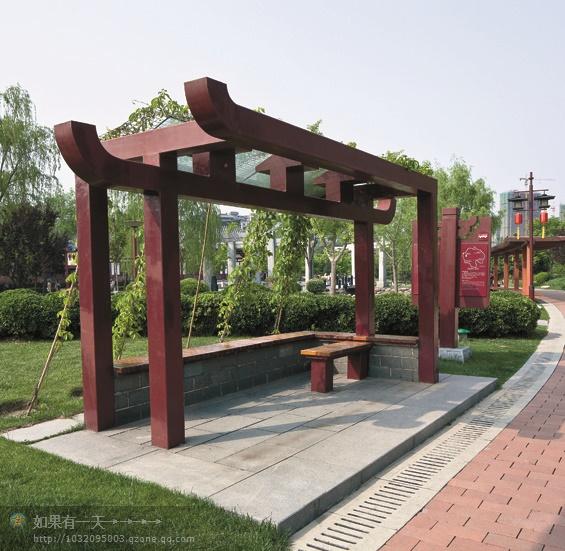 现代景观设计实景图及效果图-廊架坐凳标志牌-设计师