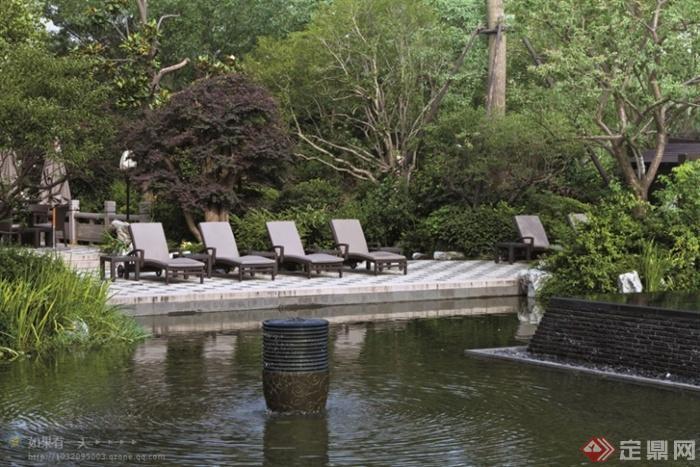 現代景觀設計實景圖及效果圖-景觀水池躺椅-設計師