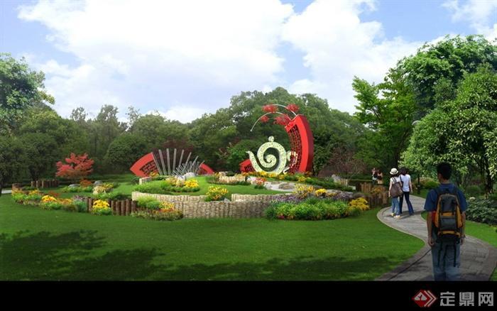 现代景观设计实景图及效果图-公园雕塑花池草坪景观