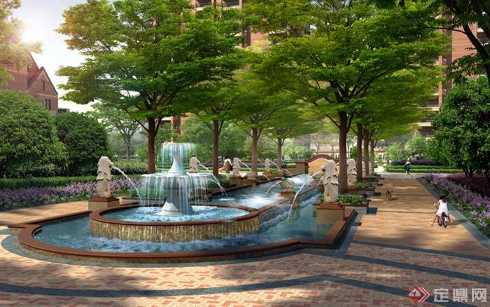 喷泉水景,景观水池,铺装