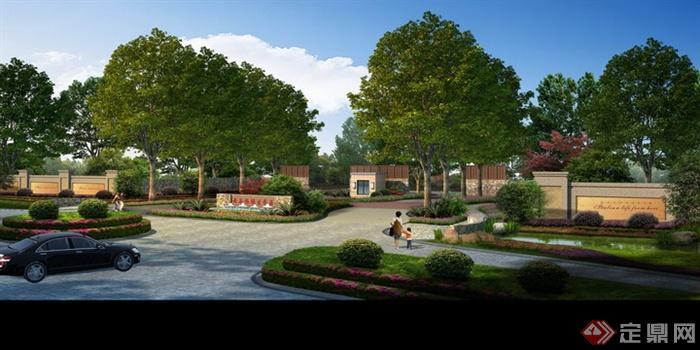 现代景观设计实景图及效果图-小区入口标志墙大门围墙