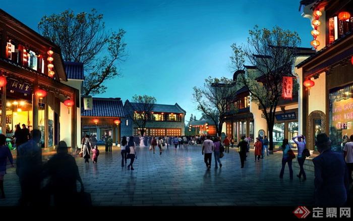 现代景观设计实景图及效果图-商业街街道环境商铺灯笼