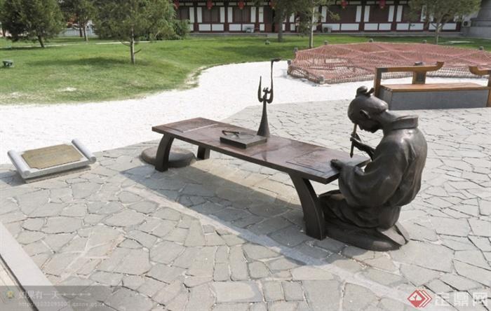现代景观设计实景图及效果图-雕塑坐凳标志碎拼铺装