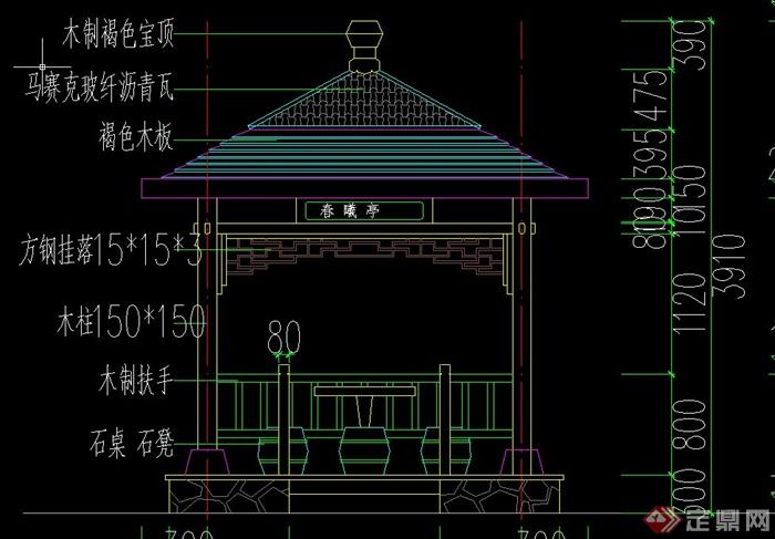 四角古典中式亭子设计cad施工图