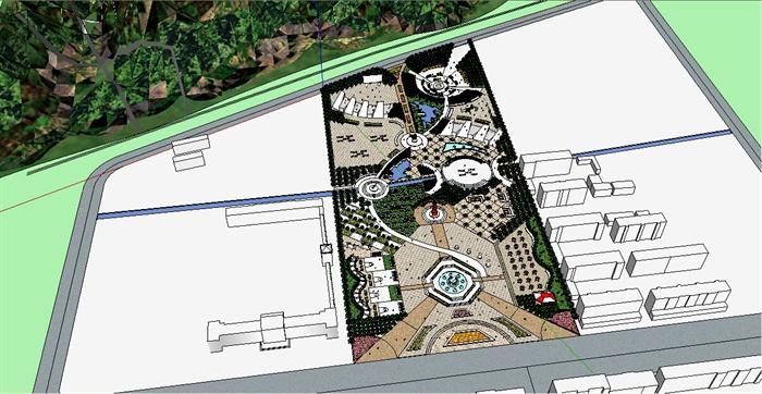 现代风格休闲广场景观设计su模型