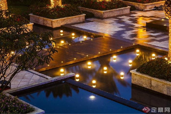200张建筑,室内,景观实景-木桥景观水池-设计师图库