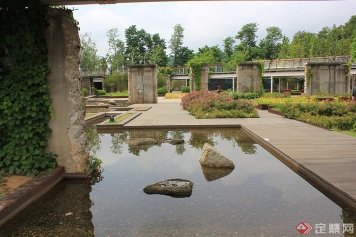 200張建筑,室內,景觀實景-景觀水池木平臺-設計師圖庫