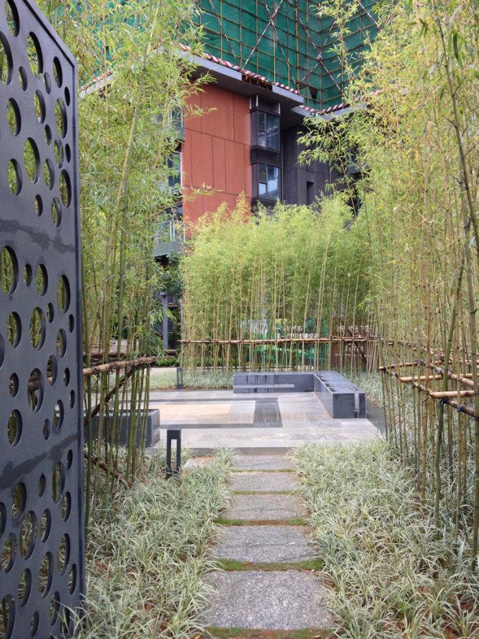 城市景观节点设计图-汀步植物竹子坐凳-设计师图库
