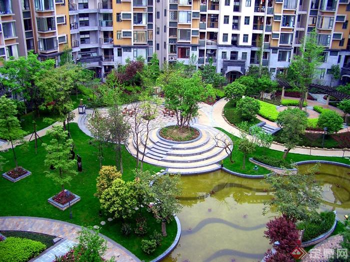 80张住宅景观实景图-住宅景观树池草坪景观水池-设计
