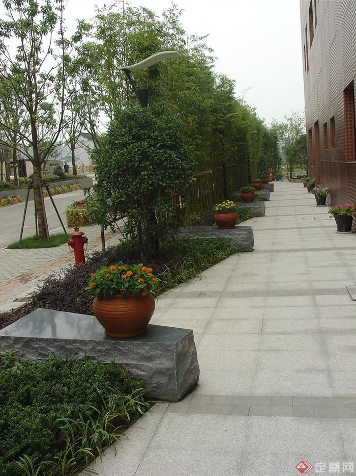 80张住宅景观实景图-花钵坐凳-设计师图库