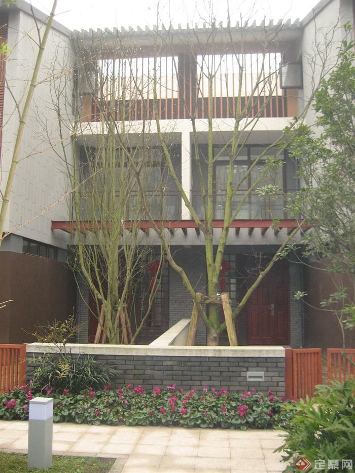 现代中式住宅景观实景-围墙大门庭院灯别墅-设计师图片