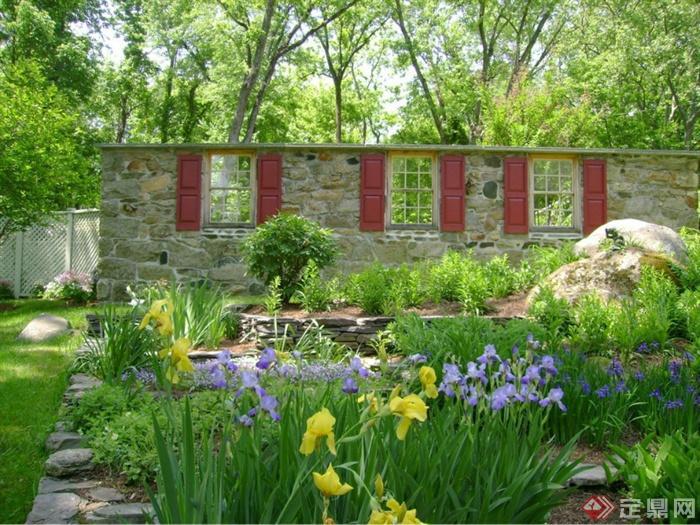 城市景观节点设计图-花卉植物景石景墙-设计师图库