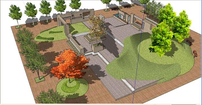 现代小公园景观设计su模型
