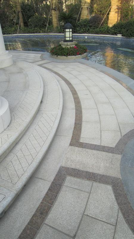 现代某住宅区景观规划设计图-台阶地面铺装花池庭院灯