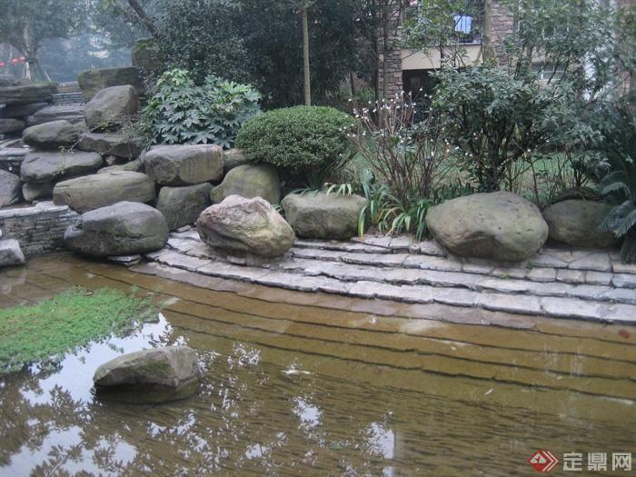 现代某住宅区景观设计图-水景景石驳岸植物-设计师