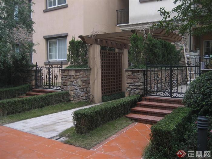 庭院景观,花架,地面铺装,植物图片