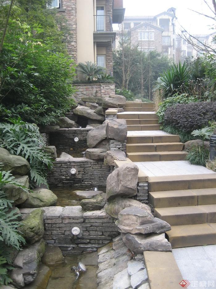 住宅景观,台阶,水景,景石