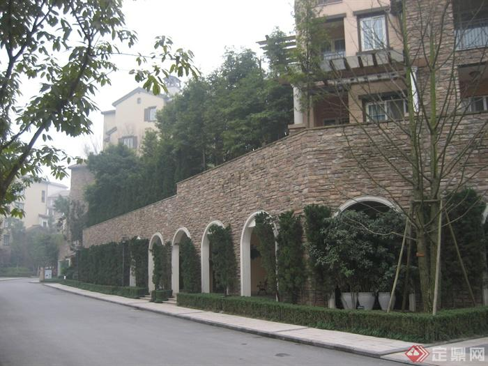 现代某住宅区景观设计图-围墙植物-设计师图库