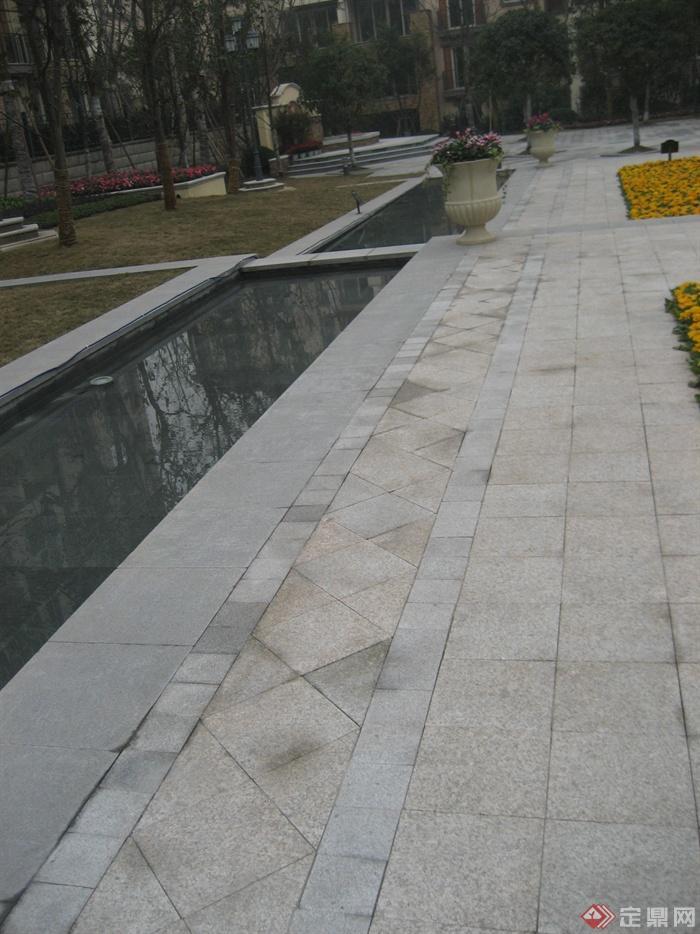 城市游园景观节点设计图-地面铺装水景植物花钵-设计
