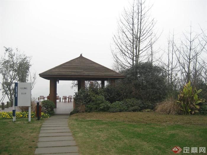 城市游园景观节点设计图-亭子汀步植物指示牌-设计师