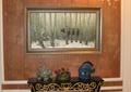 门厅,桌子,装饰画,吊灯,摆件