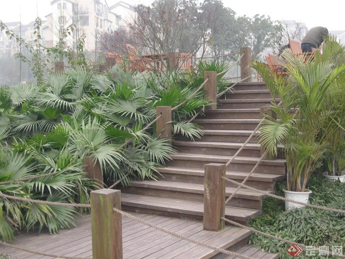城市游园景观节点设计图-楼梯植物栏杆-设计师图库