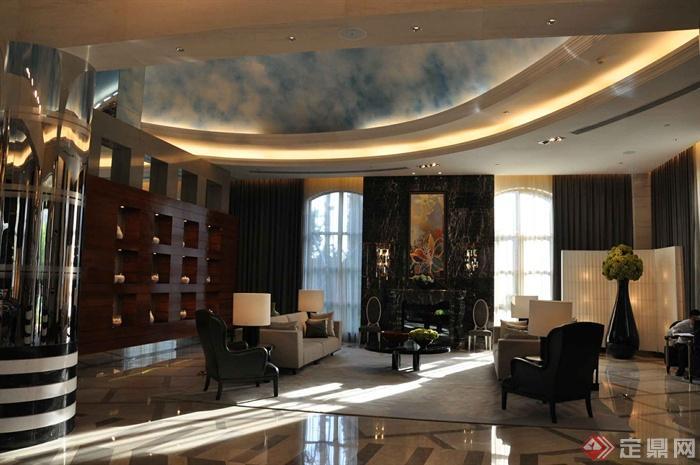 某两层别墅建筑设计图-客厅沙发茶几花钵台灯形象墙