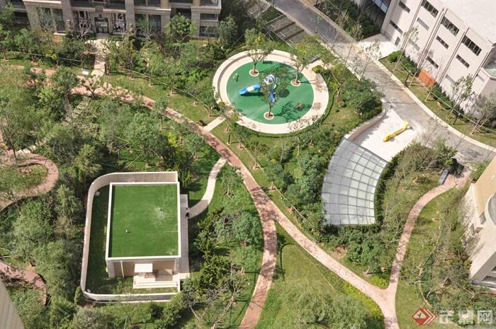 住宅景观,景观水池,园路,地下车库入口