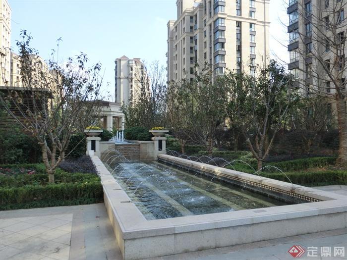 新古典风格小区景观实景图-喷泉水景景观水池-设计师