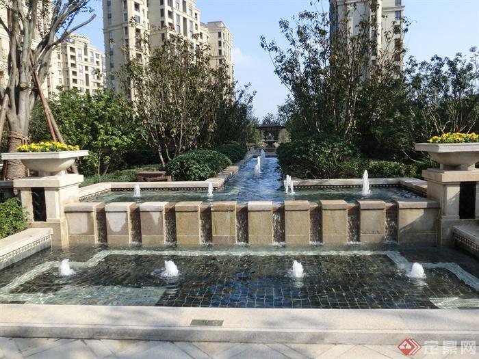 喷泉水景,景观水池,跌水景观,花钵