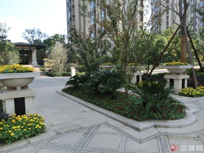 新古典风格小区景观实景图-花钵柱花池石材铺装-设计
