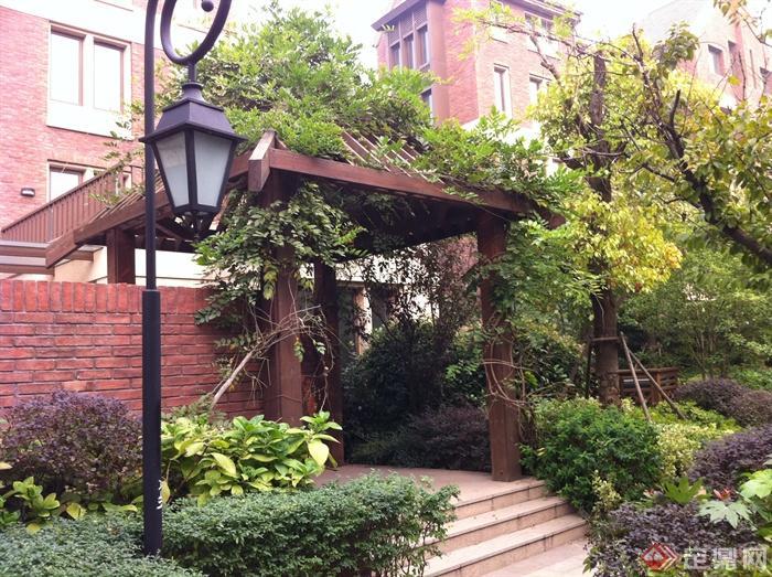 新古典风格小区景观实景图-花架庭院灯围墙台阶-设计