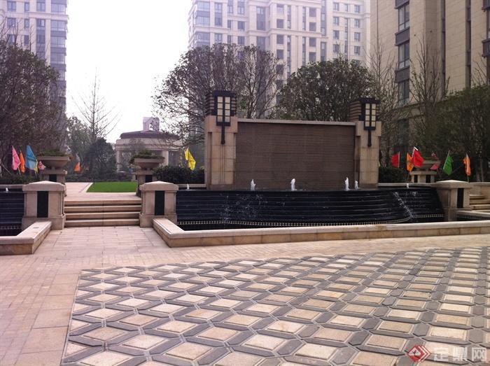 新古典风格小区景观实景图-喷泉水景景墙跌水景观