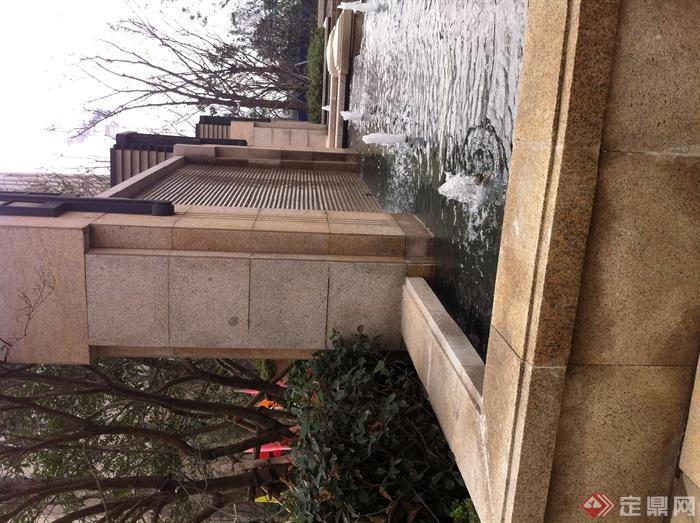喷泉水池,景墙图片