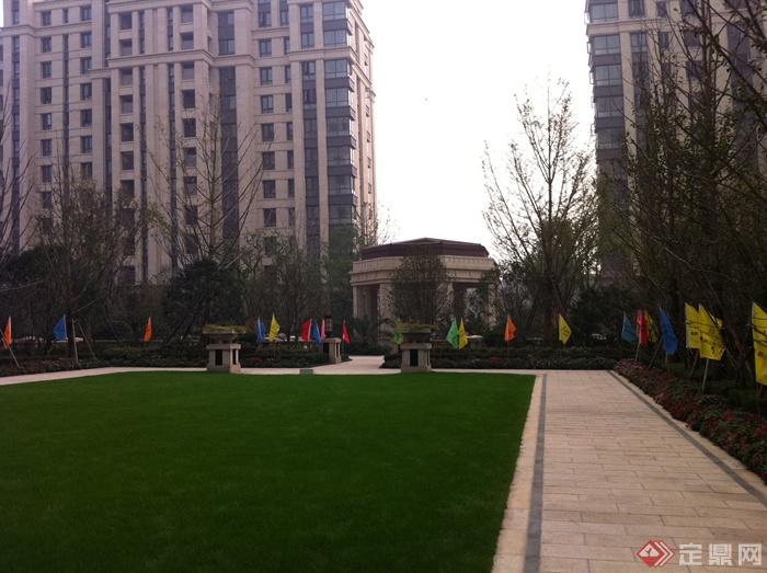 新古典风格小区景观实景图-草坪铺装花钵柱住宅景观