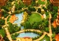 沙盘模型,住宅景观,凉亭,木平台,园路,廊架,铺装