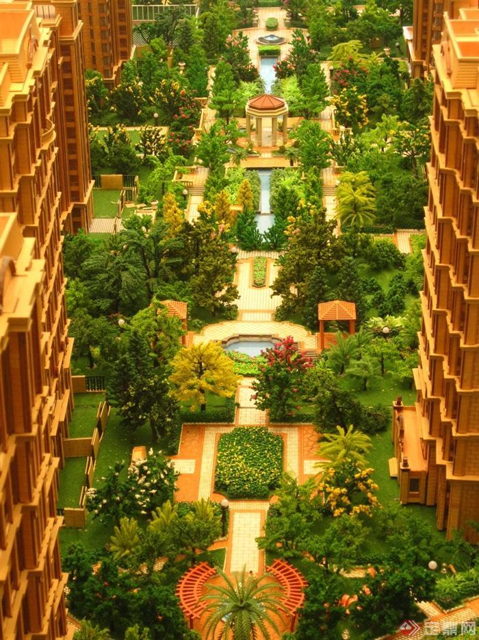 新古典风格小区景观实景图-沙盘模型住宅景观凉亭
