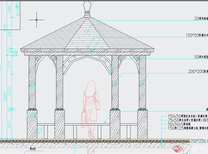 某园林欧式八角亭设计cad施工图