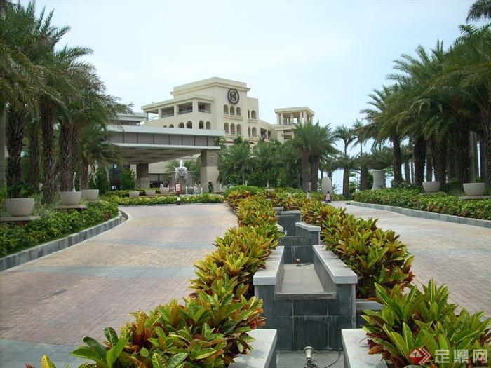 簡歐風格小區景觀-道路景觀鋪裝疊水池花池-設計師