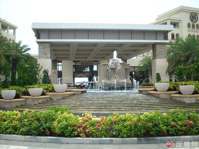 简欧风格小区景观-喷泉水景叠水景观花钵花池-设计师