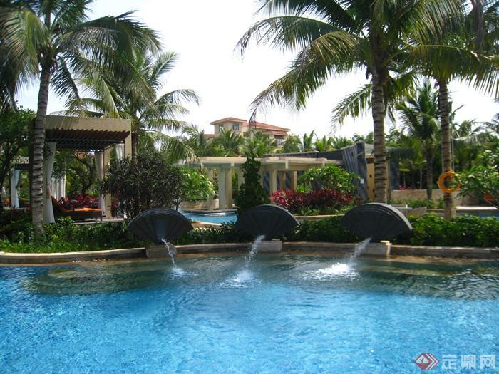 简欧风格小区景观-喷泉水景泳池种植池凉亭-设计师