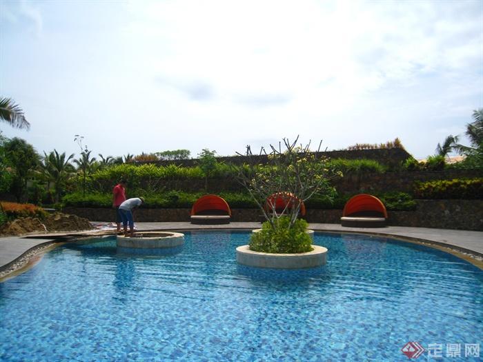 简欧风格小区景观-泳池树池-设计师图库