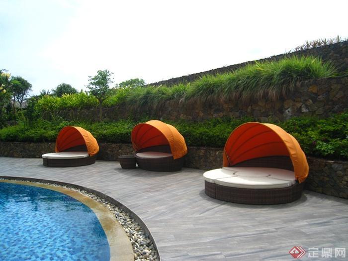 简欧风格小区景观-床木板铺装驳坎-设计师图库