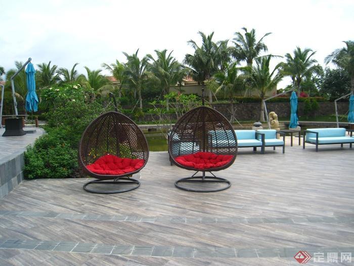 简欧风格小区景观-懒人椅铺装沙发-设计师图库