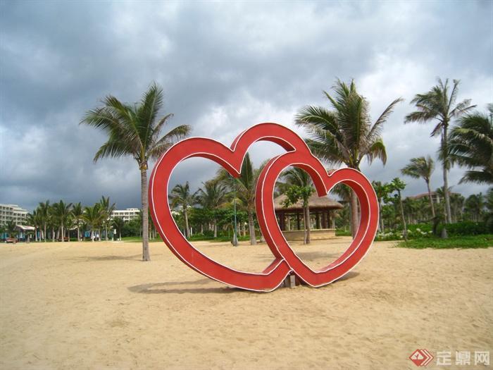 简欧风格小区景观-雕塑景观小品沙滩-设计师图库