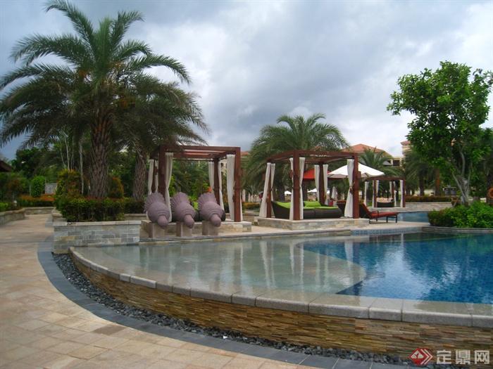 简欧风格小区景观-泳池雕塑喷泉凉亭树池-设计师图库